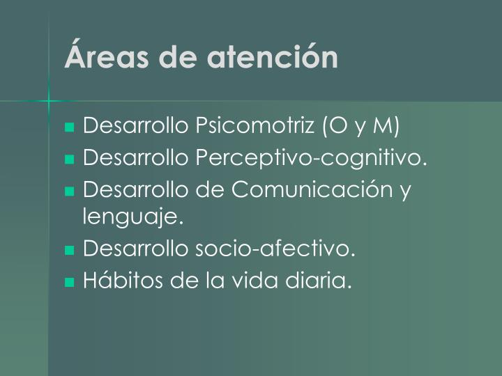 Áreas de atención