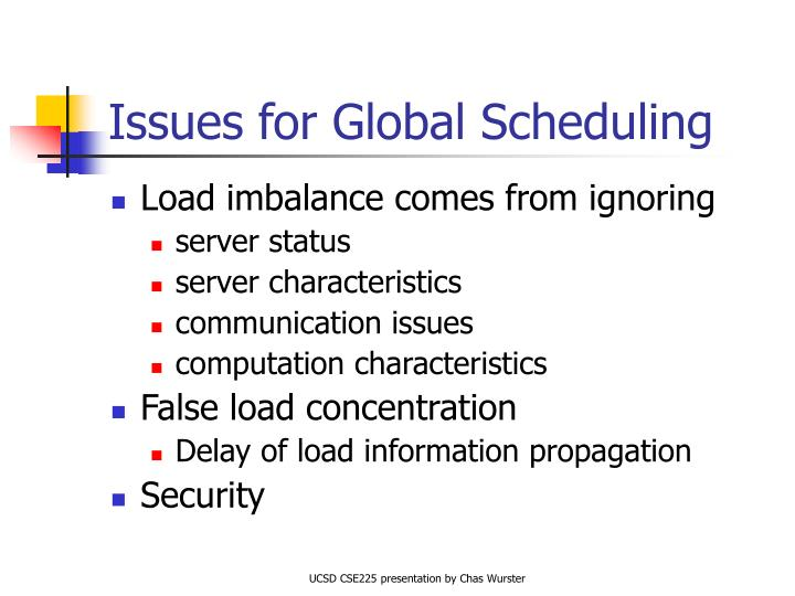 Issues for Global Scheduling