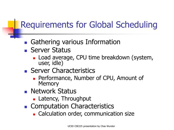 Requirements for Global Scheduling