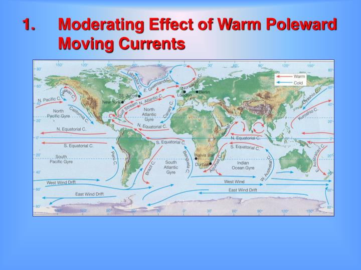 1.	Moderating Effect of Warm Poleward  	Moving Currents