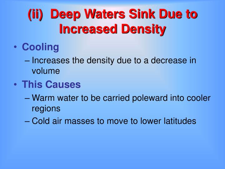 (ii)	Deep Waters Sink Due to Increased Density