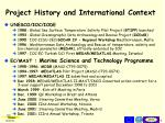 project history and international context