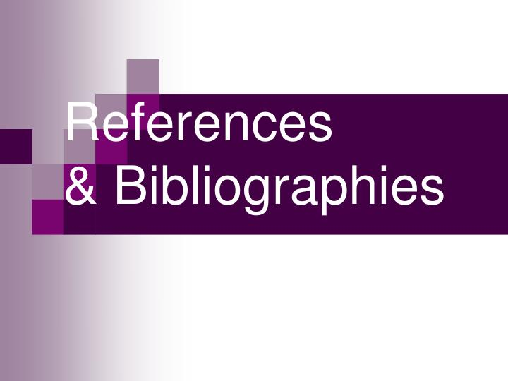 references bibliographies n.