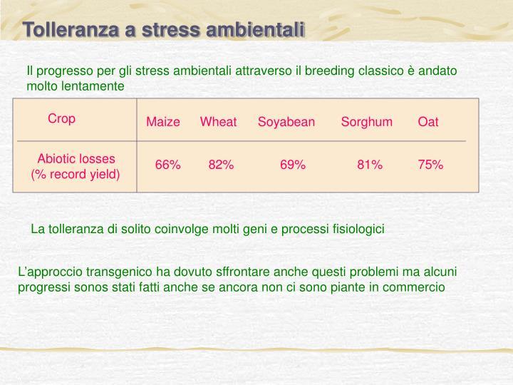 Tolleranza a stress ambientali