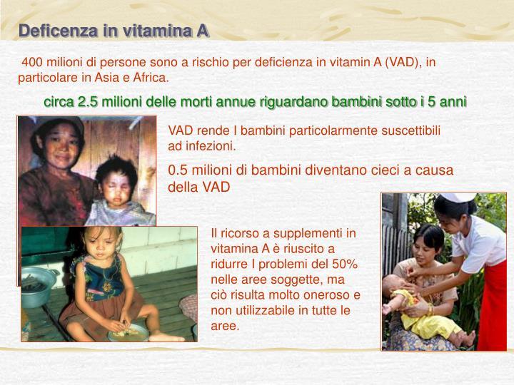 Deficenza in vitamina A