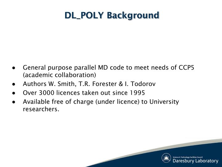 DL_POLY Background