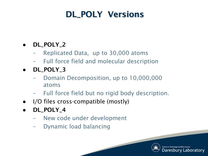 DL_POLY  Versions