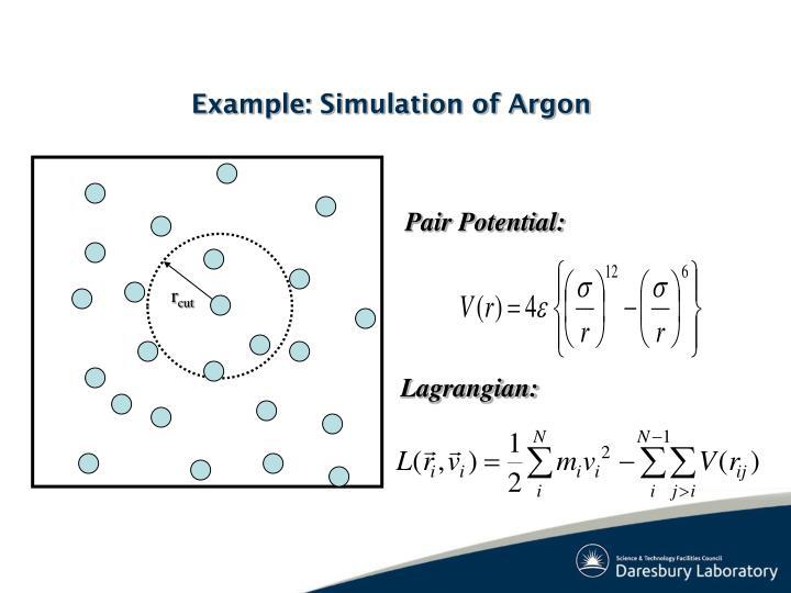Example simulation of argon