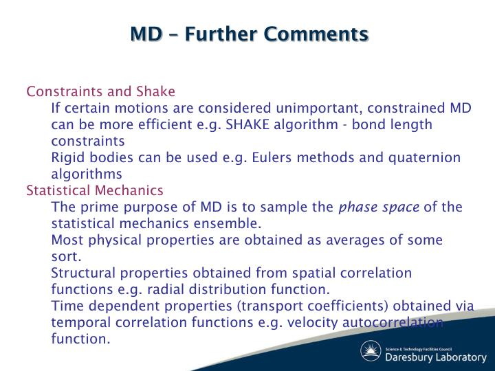 MD – Further Comments