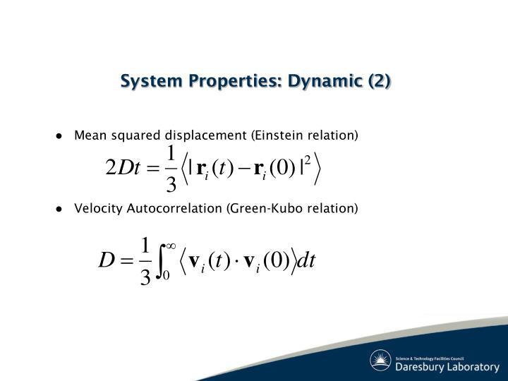 Mean squared displacement (Einstein relation)