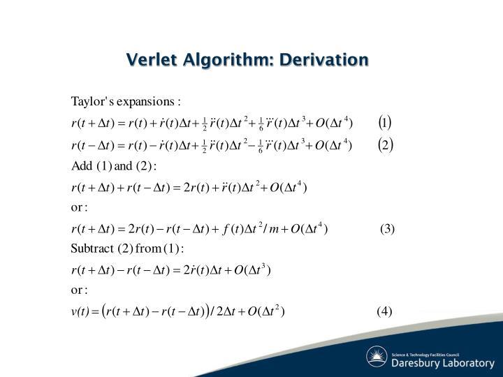 Verlet Algorithm: Derivation