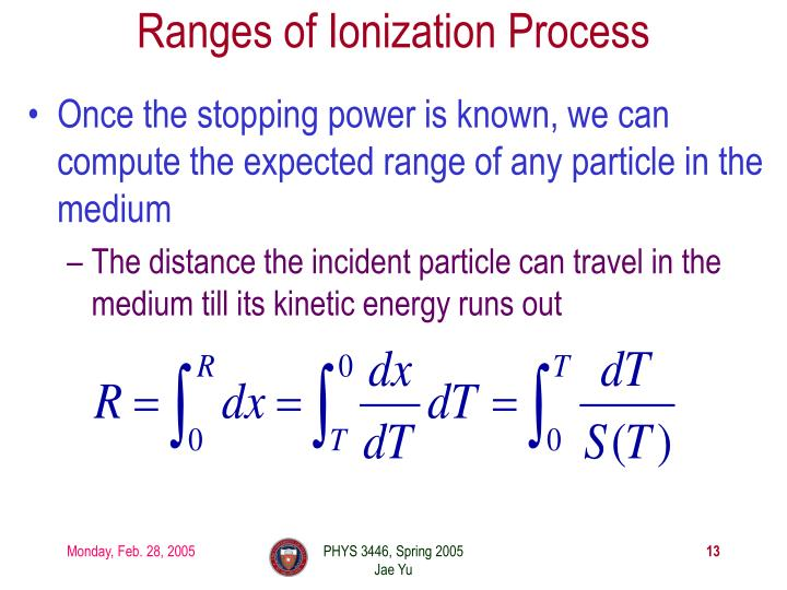 Ranges of Ionization Process