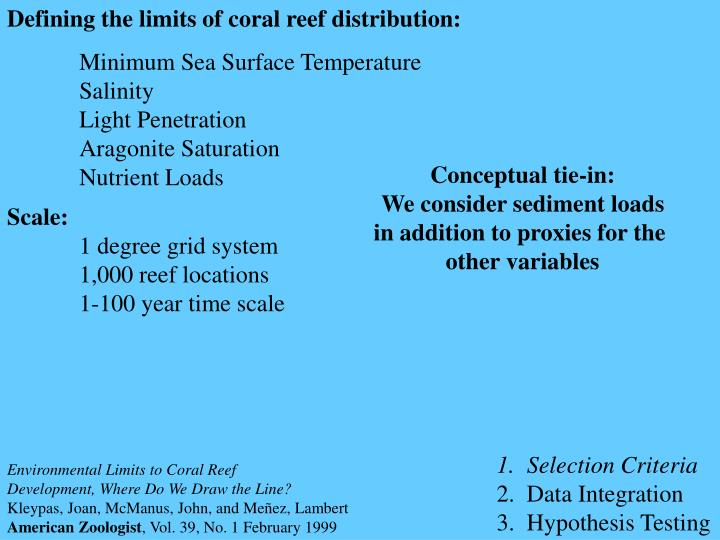 Defining the limits of coral reef distribution: