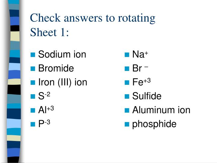 Check answers to rotating sheet 1