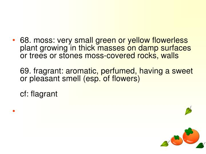 68. moss: very small green or yellow flowerless plant growing in thick masses on damp surfaces or trees or stones moss-covered rocks, walls