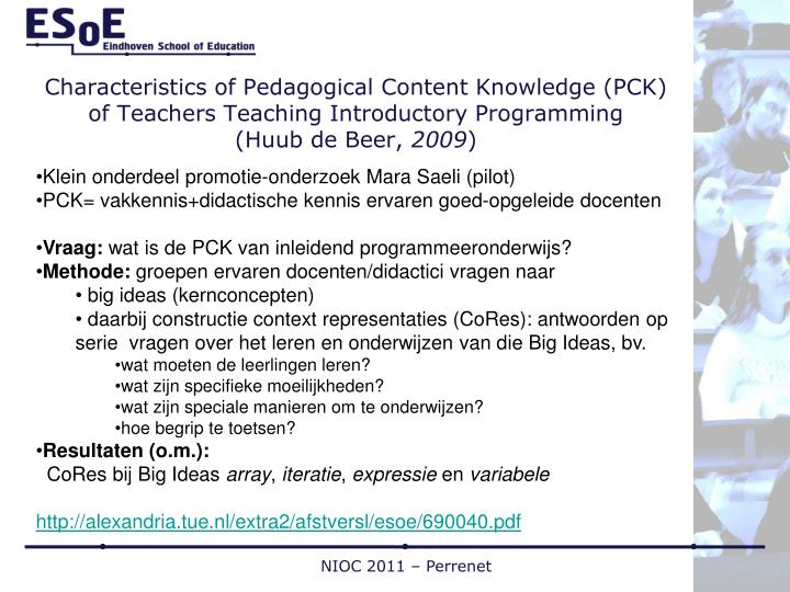 Characteristics of Pedagogical Content Knowledge (PCK) of Teachers Teaching Introductory Programming