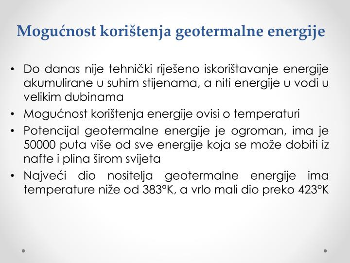 Mogućnost korištenja geotermalne energije