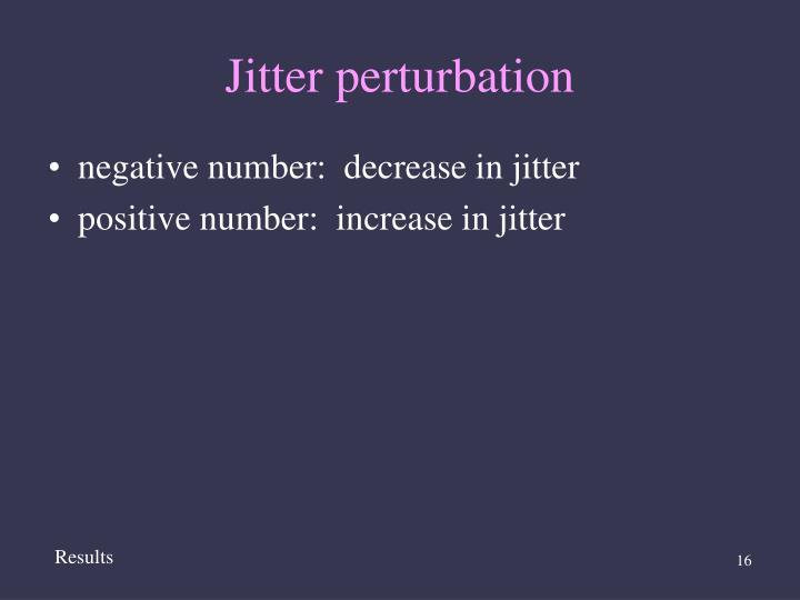 Jitter perturbation