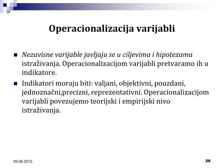 Operacionalizacija varijabli