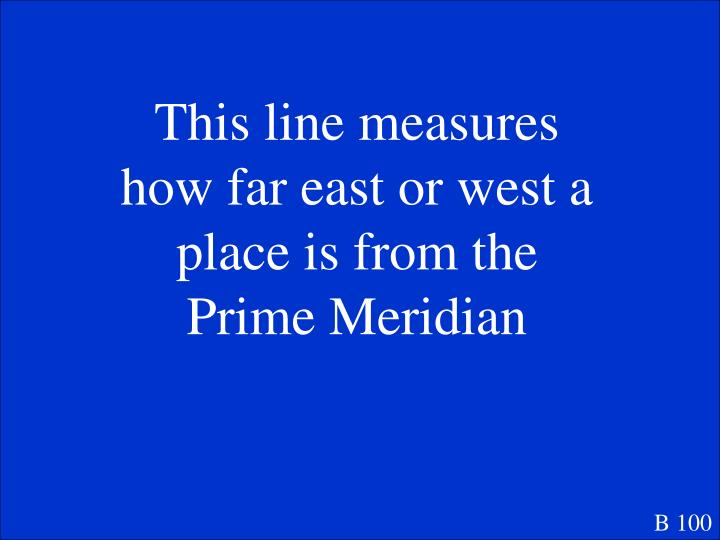 This line measures how far east or west a place is from the Prime Meridian