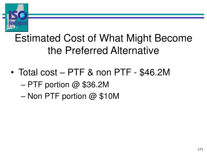 Estimated Cost of What Might Become the Preferred Alternative