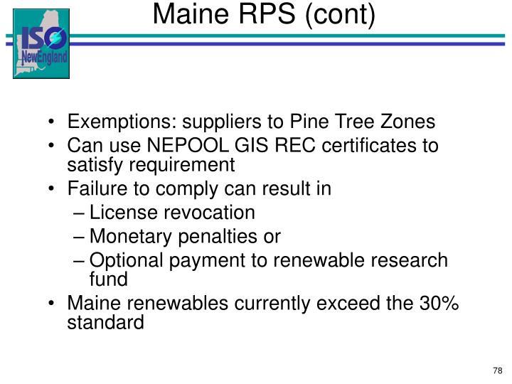 Maine RPS (cont)