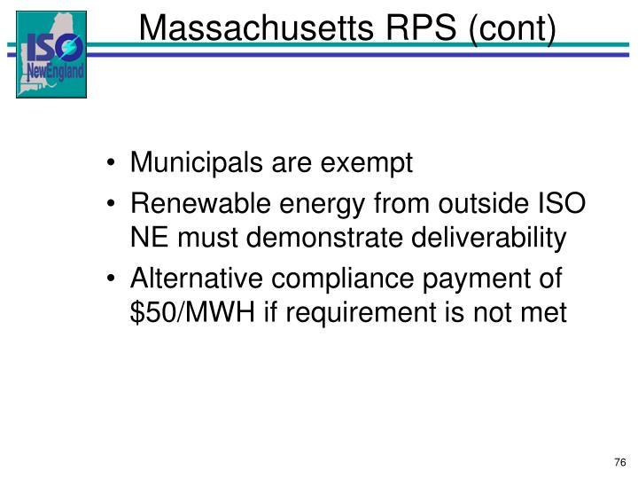 Massachusetts RPS (cont)