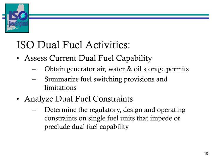 ISO Dual Fuel Activities: