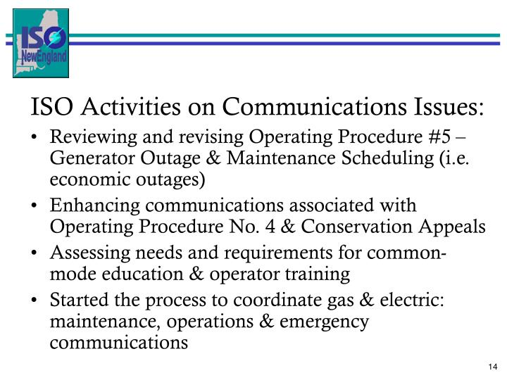 ISO Activities on Communications Issues: