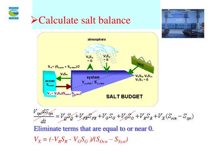 Calculate salt balance