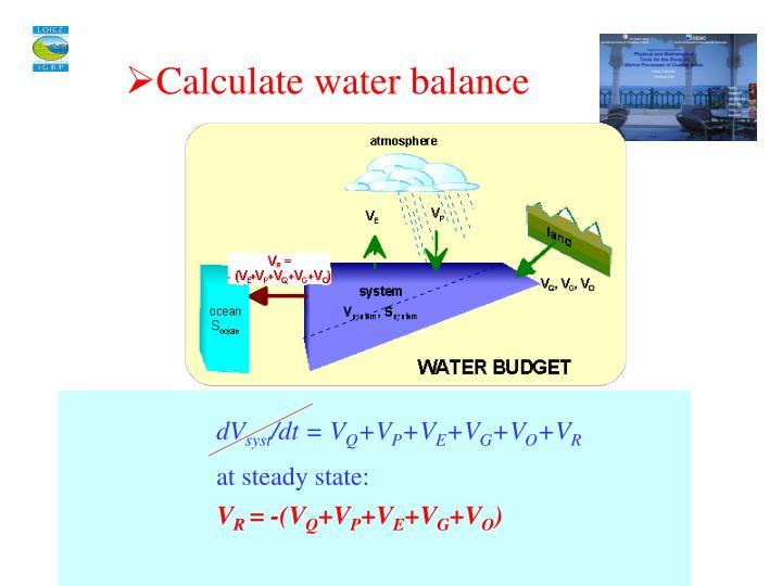 Calculate water balance
