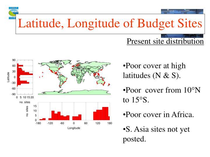 Latitude, Longitude of Budget Sites
