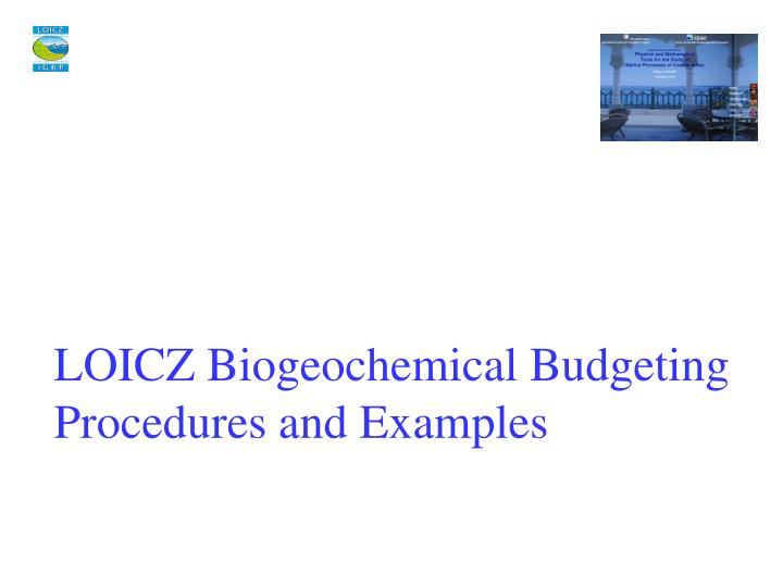 LOICZ Biogeochemical Budgeting Procedures and Examples