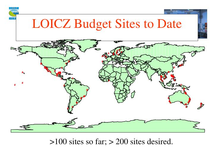 LOICZ Budget Sites to Date