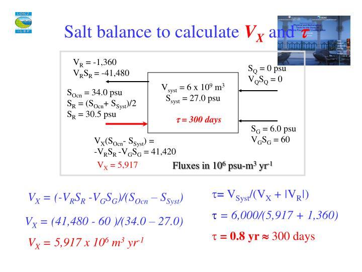 Salt balance to calculate