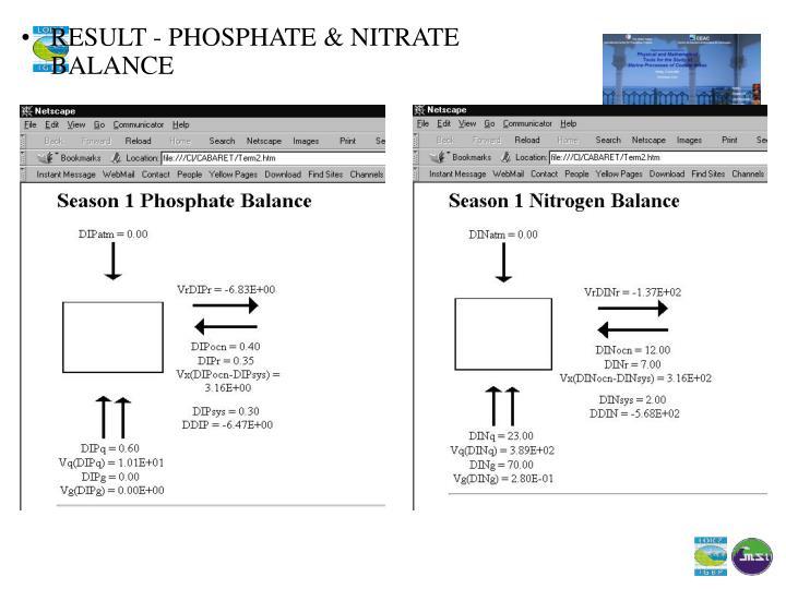 RESULT - PHOSPHATE & NITRATE BALANCE