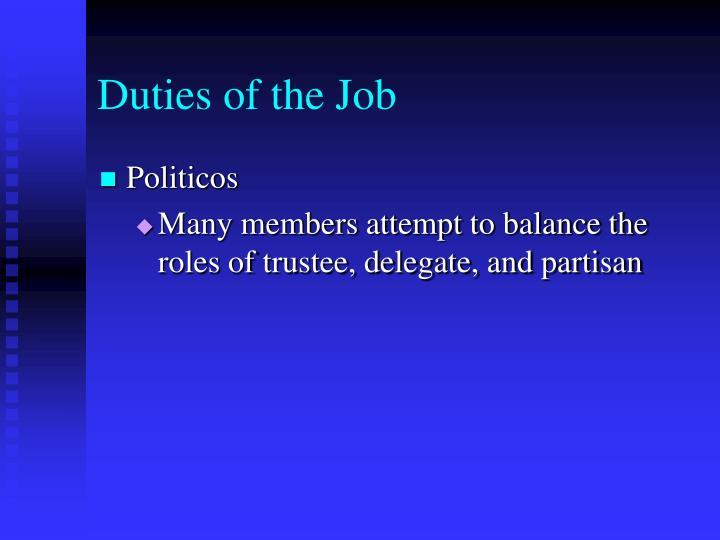 Duties of the Job