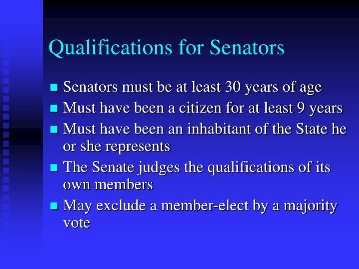 Qualifications for Senators