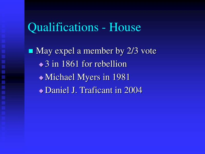 Qualifications - House