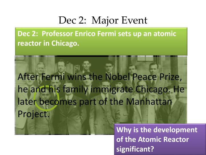 Dec 2:  Major Event
