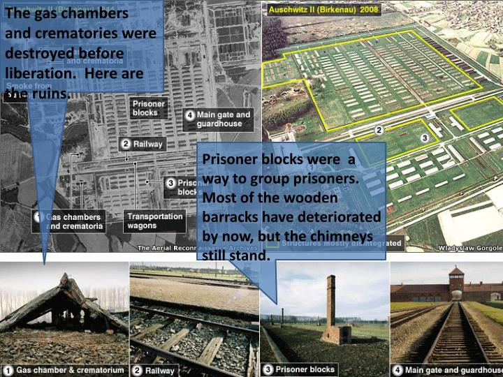 The gas chambers and crematories were destroyed before liberation.  Here are the ruins.