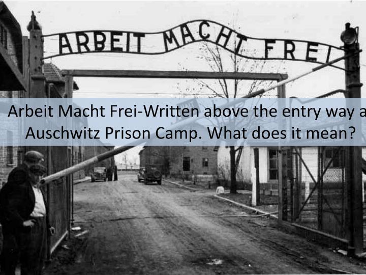 Arbeit Macht Frei-Written above the entry way at Auschwitz Prison Camp. What does it mean?