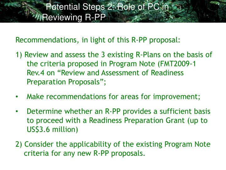 Potential Steps 2: Role of PC in Reviewing R-PP