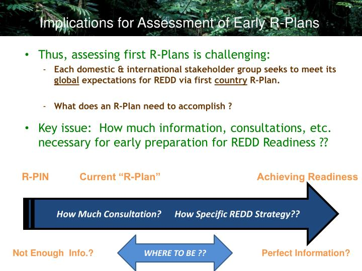 Implications for Assessment of Early R-Plans