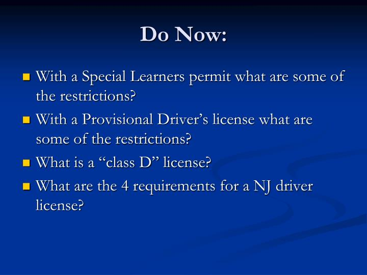 provisional drivers license restrictions nj