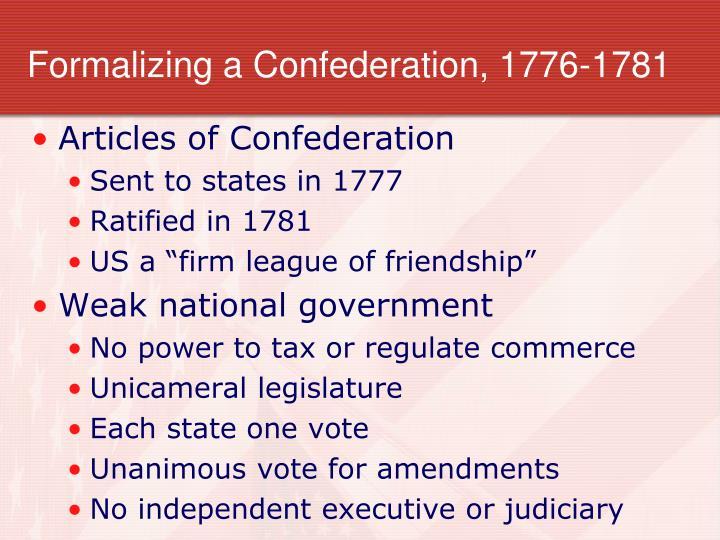 Formalizing a Confederation, 1776-1781
