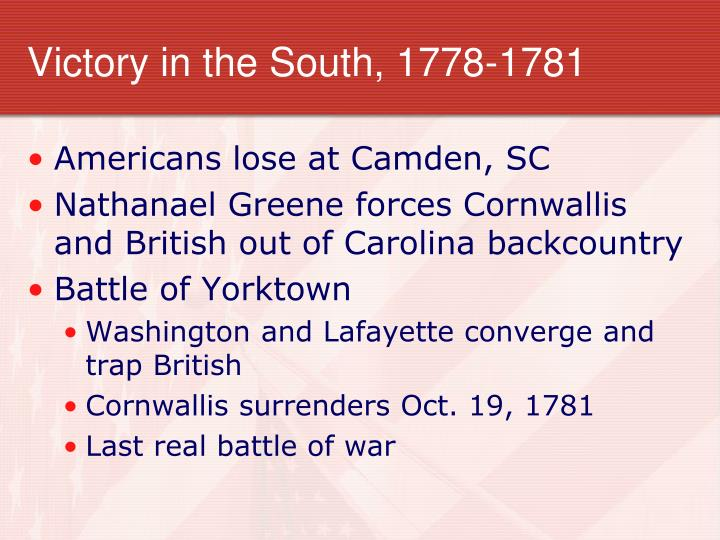 Victory in the South, 1778-1781