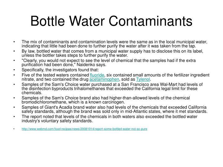 Bottle Water Contaminants