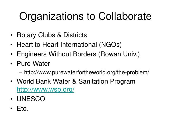 Organizations to Collaborate