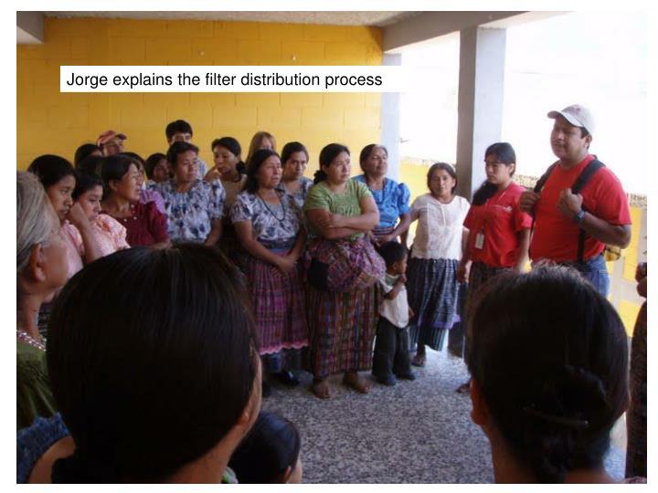 Jorge explains the filter distribution process